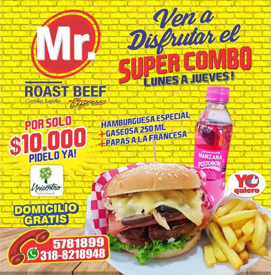 Antójate con esta deliciosa promoción en Mr Roast Beef Oficial Unicentro.  Estamos ubicados en la terraza externa de comidas del centro comercial