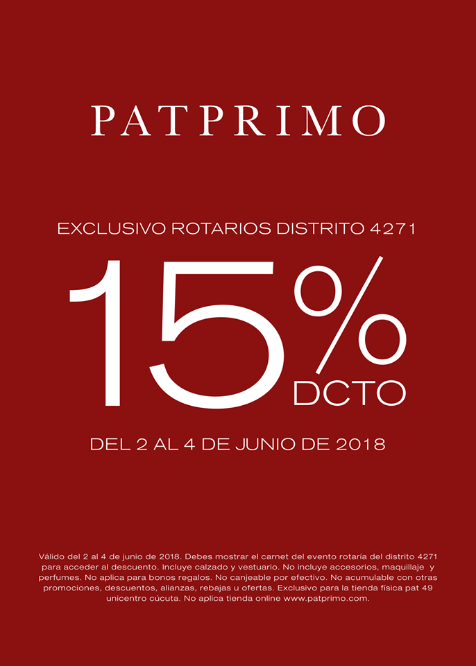 Descuento exclusivo para Rotarios 4271 en PATPRIMO Unicentro.