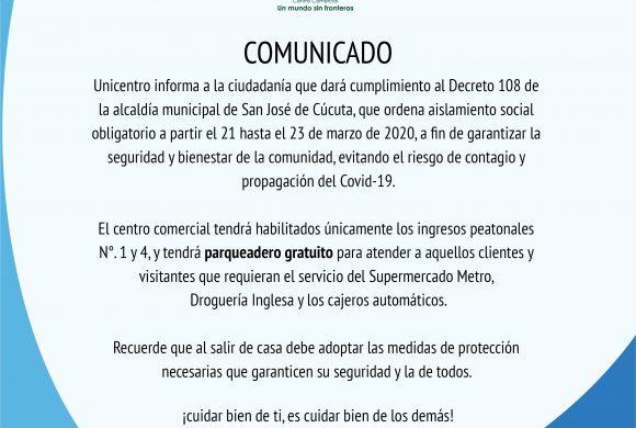 COMUNICADO UNICENTRO CÚCUTA
